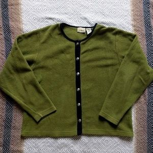 LL Bean fleece in olive with silver buttons